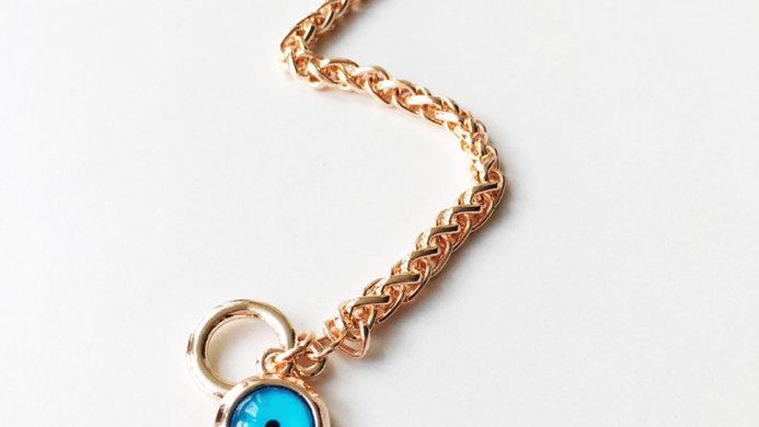 Gold Evil Eye Toggle Bracelet