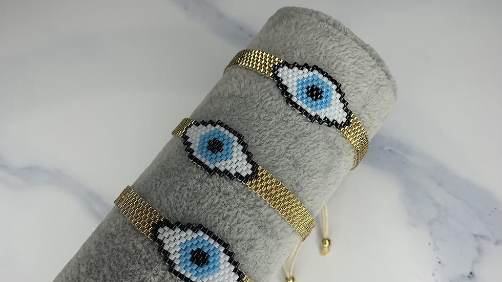 """""""Arissa"""" Gold Evil Eye Bracelet"""