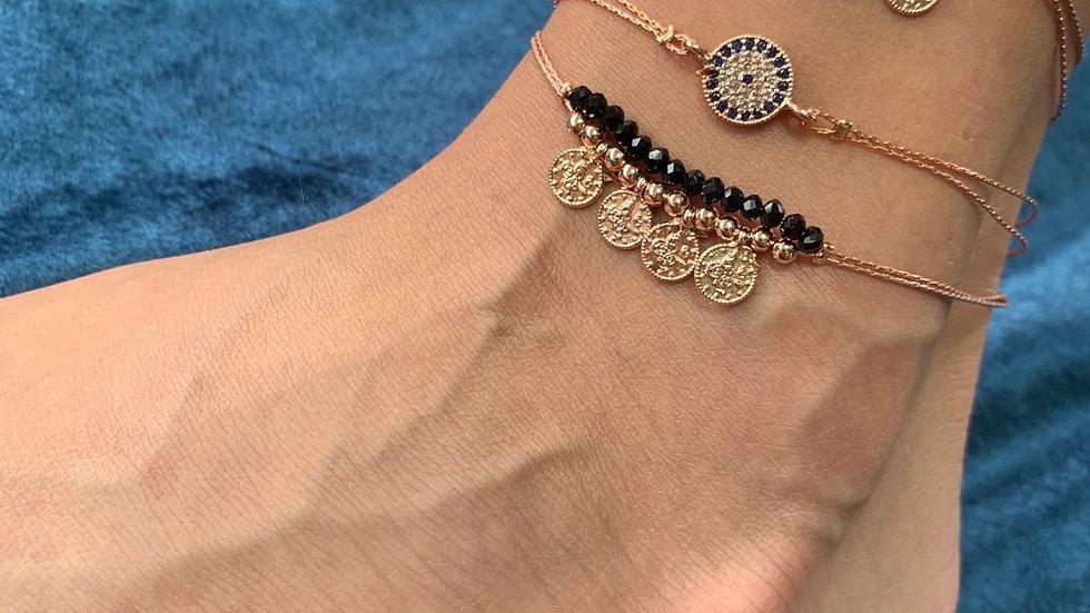 Rose Gold Coin Anklet & Bracelet