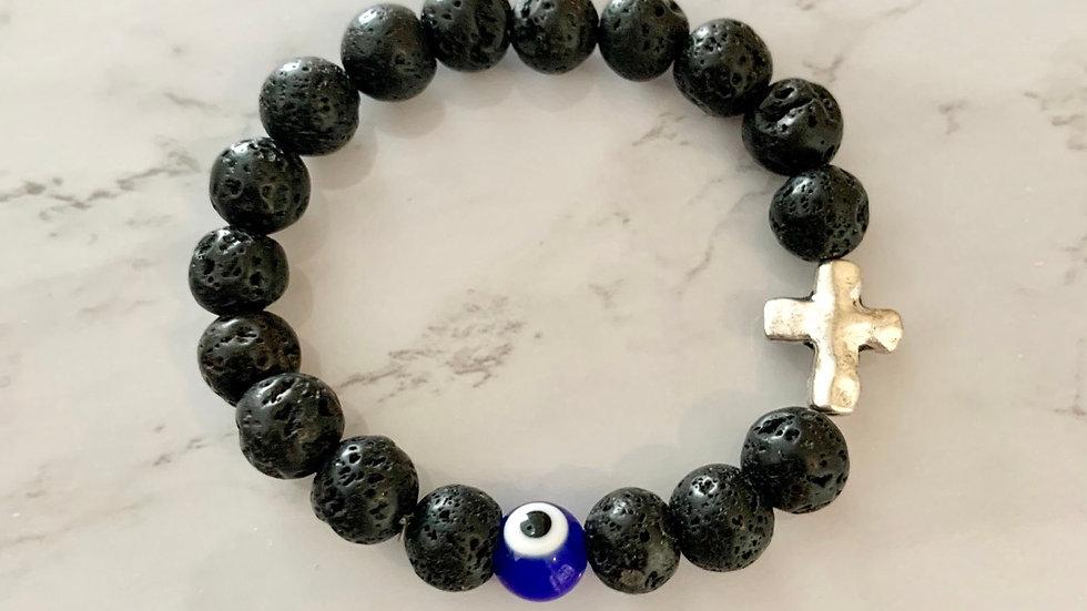 Black Lava Cross & Evil Eye Bracelet