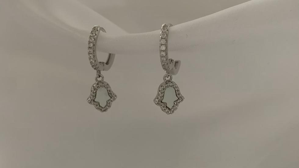 Opal Hamsa Huggie Earrings
