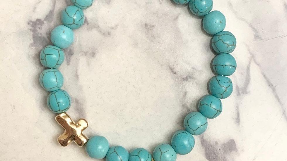 Seahorse & Cross Turquoise Bracelet