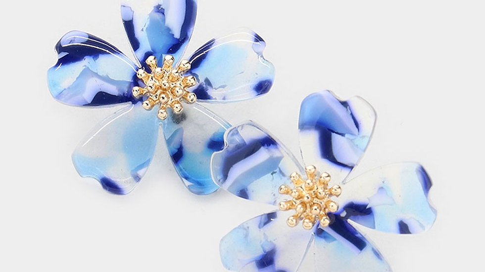 """Louloudi"" Blue Flower Earring"