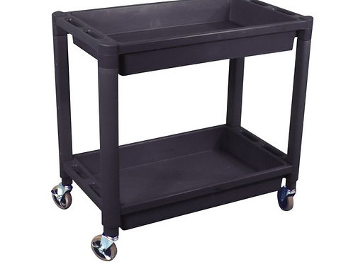 Heavy Duty Plastic 2 Shelf Utility Cart-Black