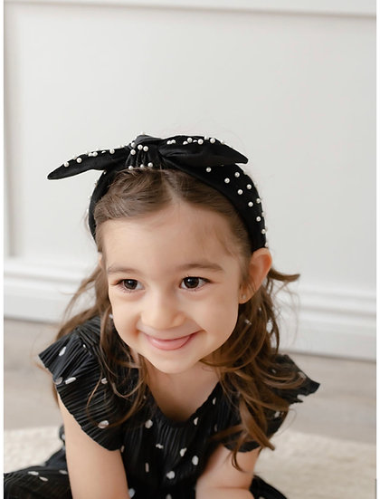 MINI Luxe Velvet Pearl Bow Headband