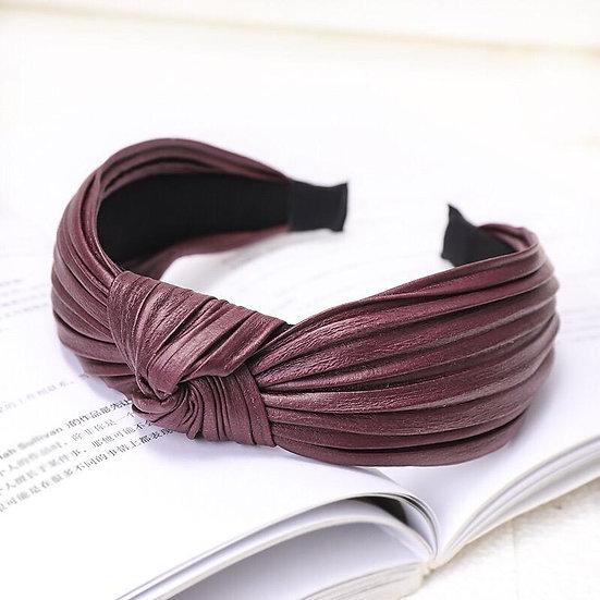 Faux Leather Pleated Headband