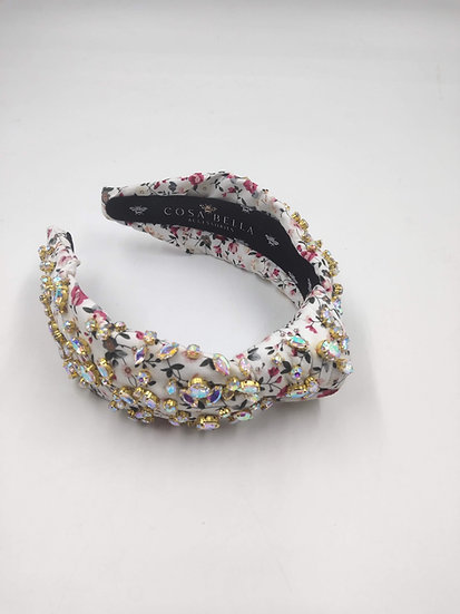Ditzy Floral Headband with Iridescent Crystals