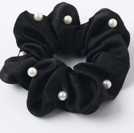 Satin Scrunchie with Pearls