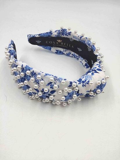 Blue Magnolia Headband with Pearls