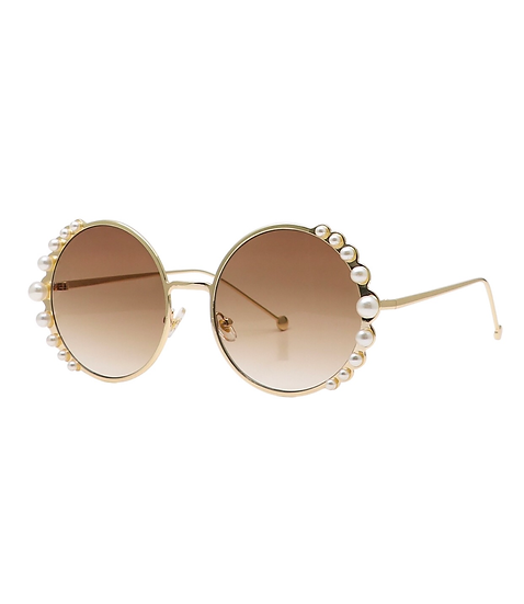 Round Pearl Trimmed Sunglasses