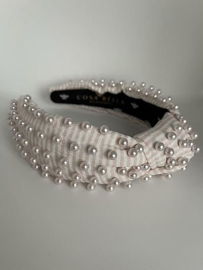 Pink Seersucker Headband with Pink Pearls