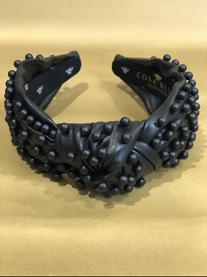 Faux Leather Headband with Black Pearls