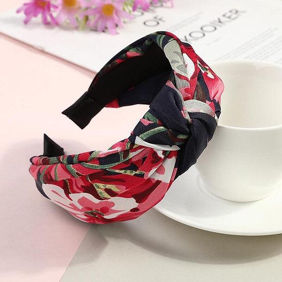 Satin Floral Print Headband