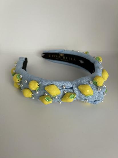 Limoncello Mini Headband with Pearls