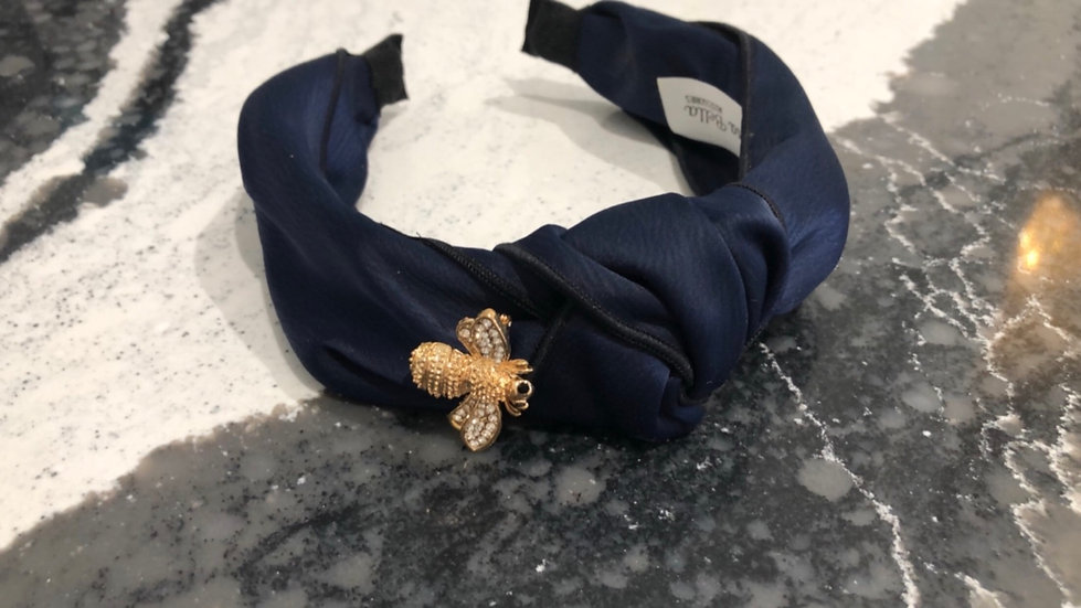 Headband with Removable Gold Bee Pin