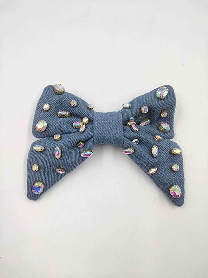 Denim Bow with Iridescent Crystals