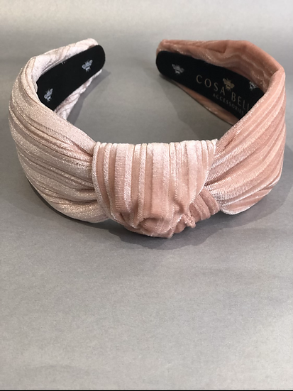 Blush Luxe Velvet Top Knot Headband