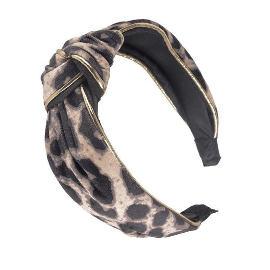 Velvet Leopard Headband with Gold Piping