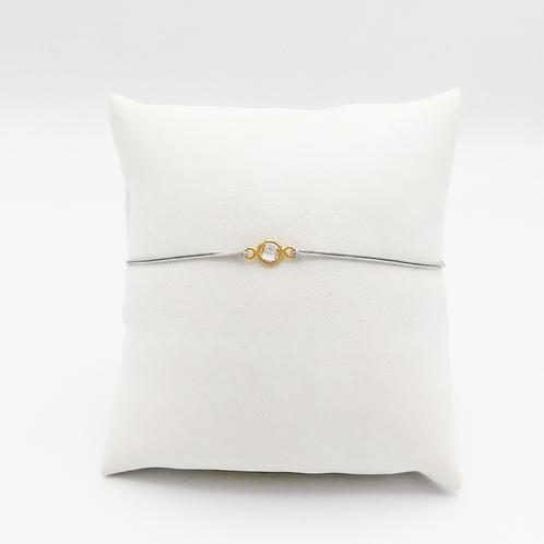 Armband mit kleinem Zirkonia Stein, gelbgold gefasst
