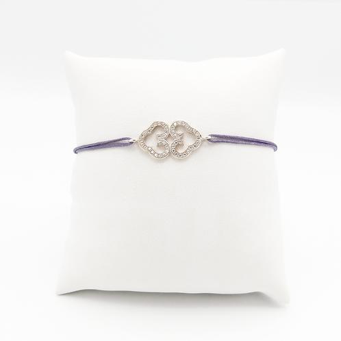 Armband mit Doppelherz und Zirkonia Steinen in Silber