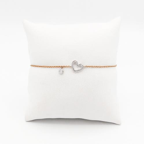 Armband Herzchen18 Kt Roségold und Weißgold mit Brillianten