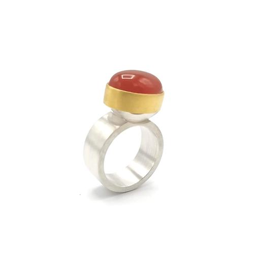 Breiter Silber Ring mit Karneol