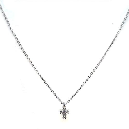 Halskette Kreuz 18Kt Weißgold mit Brillianten