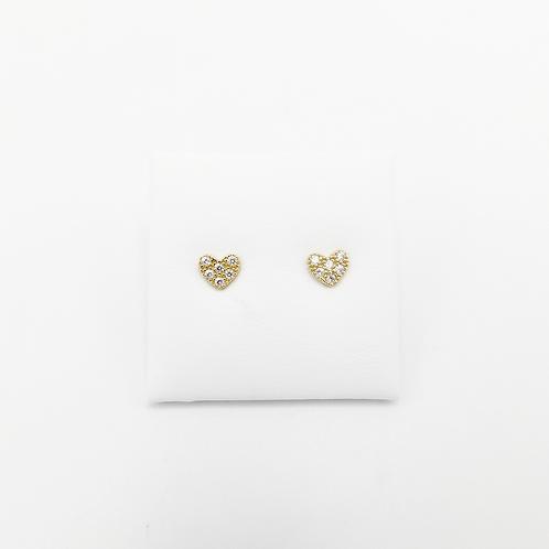 Herzchen Ohrringe Gelbgold mit Zirkonia Steinchen