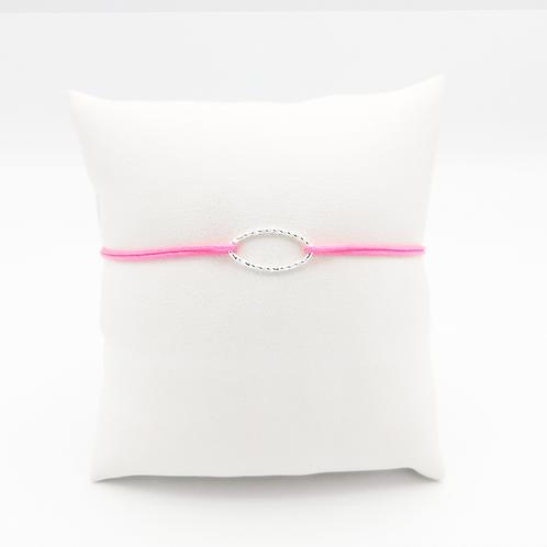 Armband mit kleinem Oval, diamantiert, in Silber