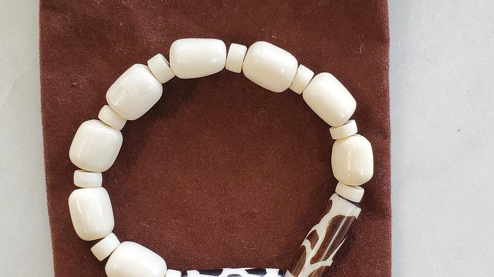 Handmade Ivory Bone Beaded Bracelet