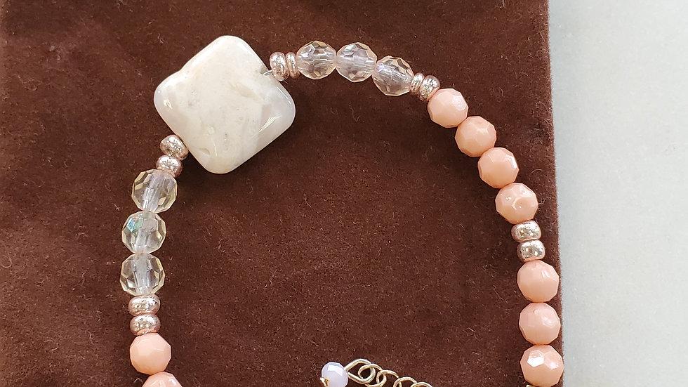 Handmade Adjustable Light Peach and Cystal Bracelet
