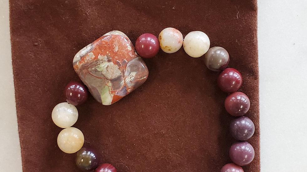 Handmade Apple Jasper and Assorted Agates Bracelet