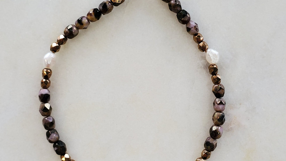 Handmade Mauve/Gold and Pearl Bracelet