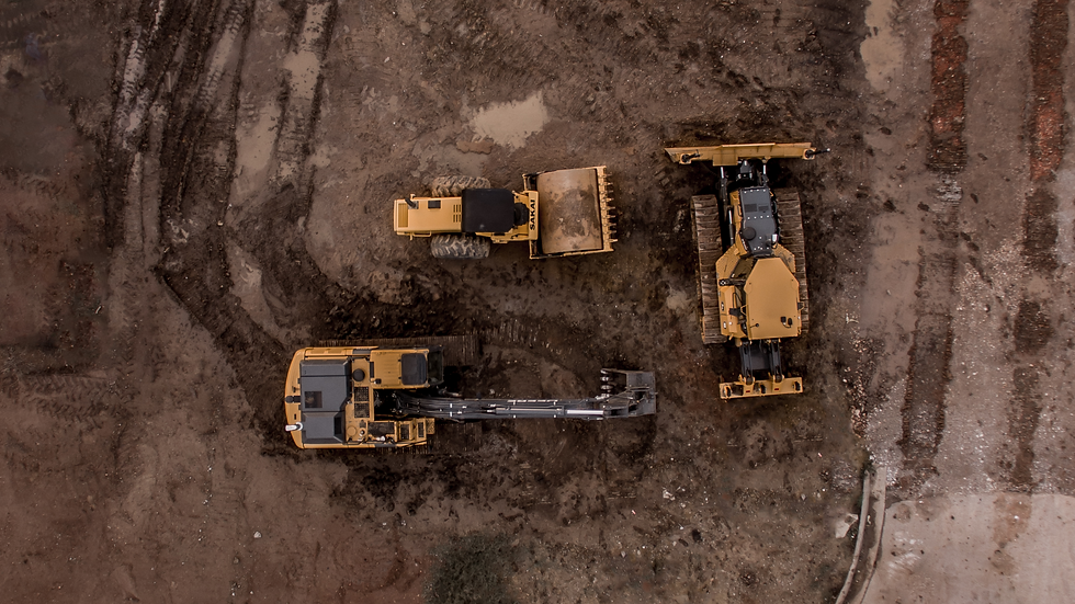 aerial-photo-of-excavator-road-roller-an