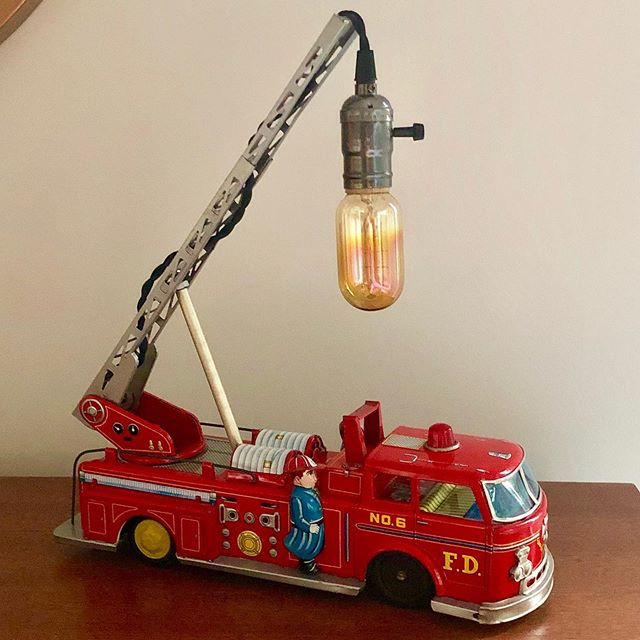 Vintage tin lithograph friction toy fire