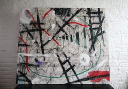 broken ladders 72x72 acrylic, coffee, ink,oil sticks (2015).JPG