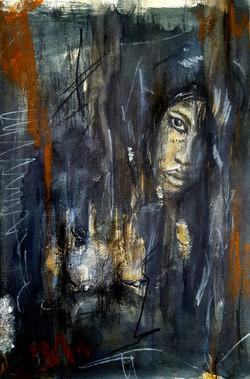 MARIASHA . charcoal, watercolor and pastels. 11x15 paper ITEM 101