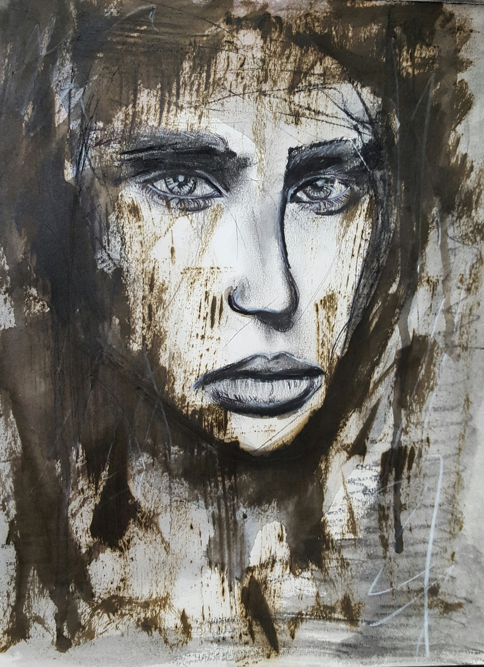 STAINED  charcoal, watercolor and pastels. 11x15 paper ITEM 106