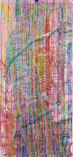 Pink tree with Bamboos, Mixed Media, 15