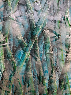 BAMBOO in FOG, 38x28, drawing with mixed