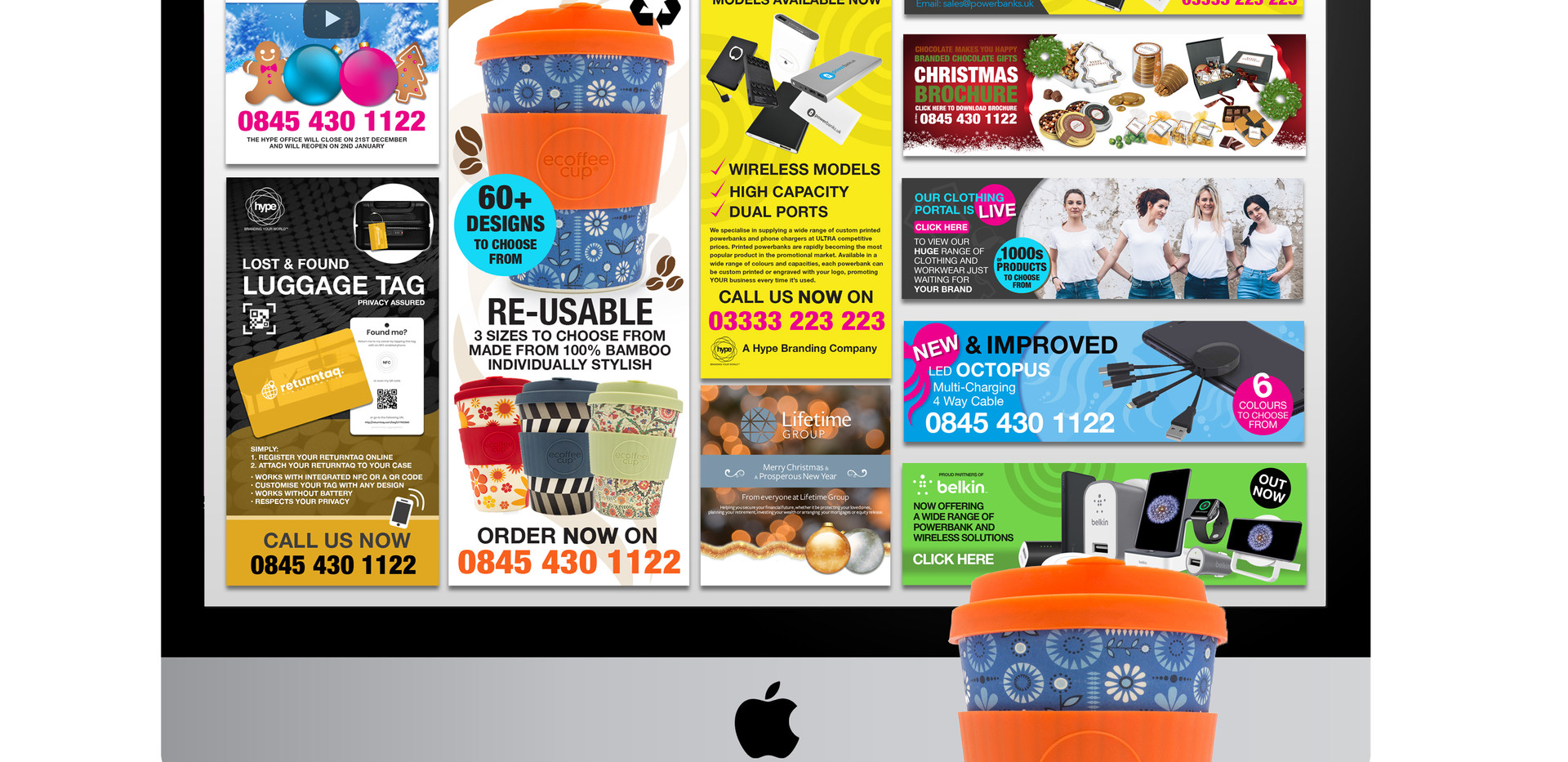Emailers, online adverts and web banners.