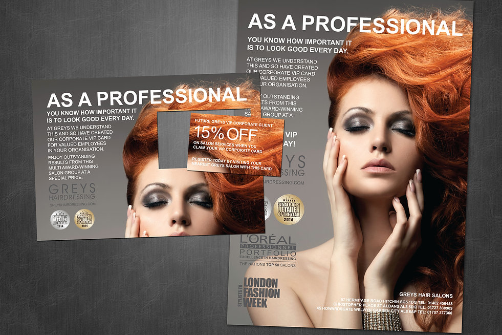 Greys Hairdressing promotional campaign design