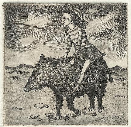 Girl Riding Boar