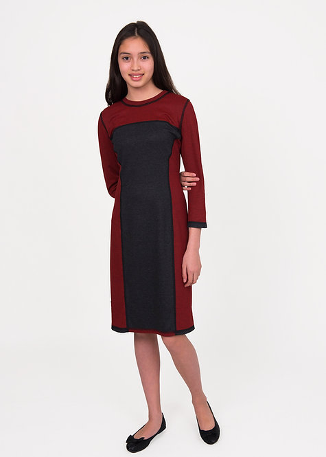 3/4 SLEEVED BLOCK PANEL DRESS