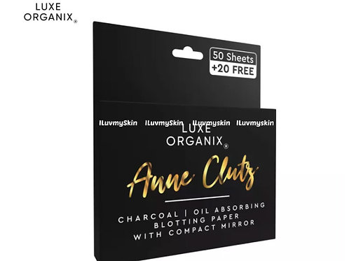 Luxe Organix Charcoal Blotting Paper with Compact Mirror by Anne Clutz 70 sheets