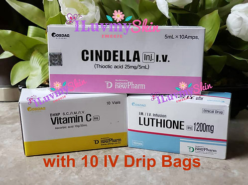 1 Box of CINDELLA IV Drip Glutathione 1200mg Vitamin C TRIO SET with 10 IV Drip