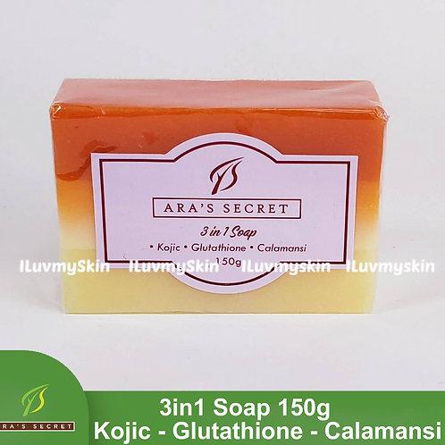 Ara's Secret Skin Glow 3 in 1 Soap (Kojic, Glutathione & Calamansi) 150g