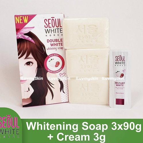 Seoul White Korea Double White Whitening Soap (Triple Pack) 90g + Cream 3g
