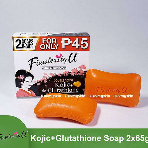 Flawlessly U 2in1 Double Active Kojic Glutathione Whitening Soap 2x65g