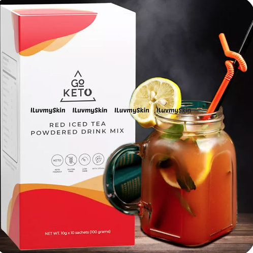 Goketo Slimming Red Ice Tea Zero Calories Powdered Drink Mix (10 Sachet) 1 Box